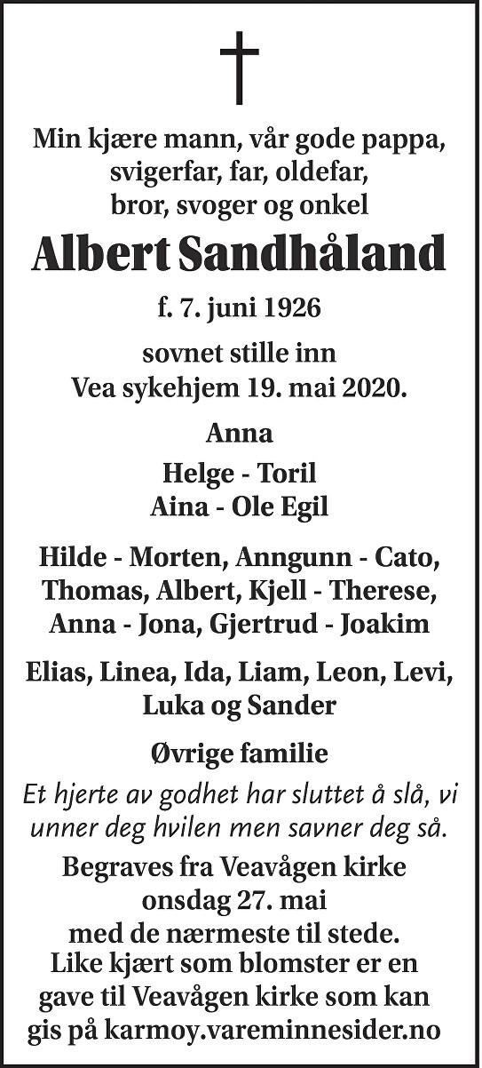 Albert Sandhåland Dødsannonse
