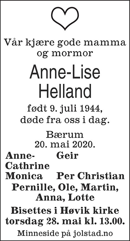 Anne-Lise Helland Dødsannonse