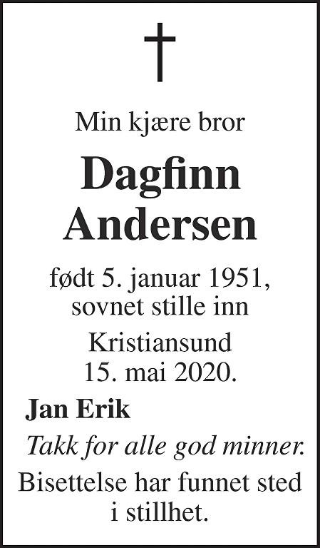 Dagfinn Andersen Dødsannonse