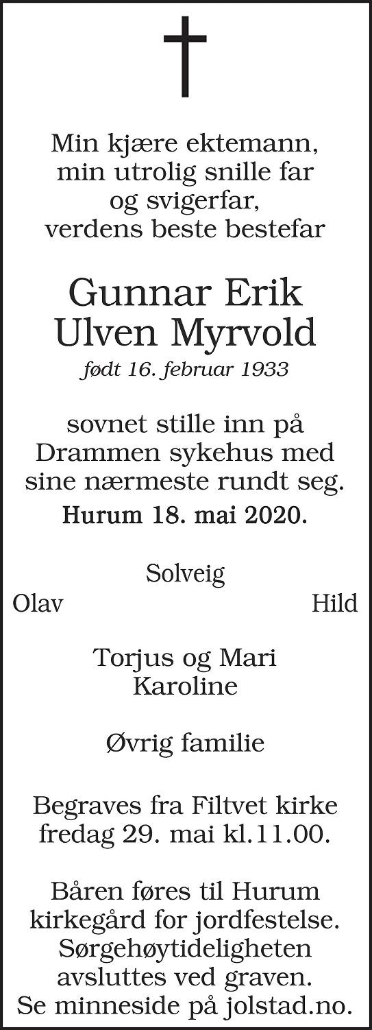 Gunnar Erik Ulven Myrvold Dødsannonse