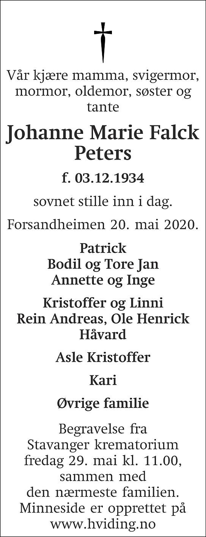 Johanne Marie Falck Peters Dødsannonse