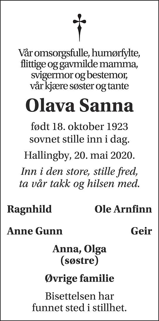 Olava Sanna Dødsannonse