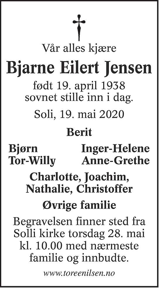Bjarne Eilert Jensen Dødsannonse