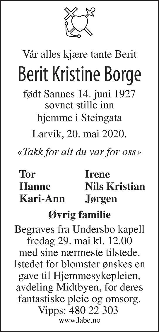 Berit Kristine Borge Dødsannonse