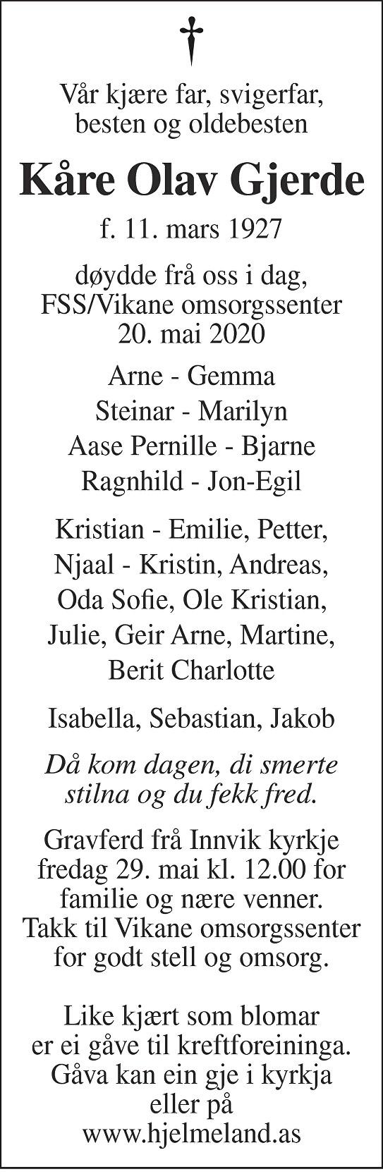 Kåre Olav Gjerde Dødsannonse