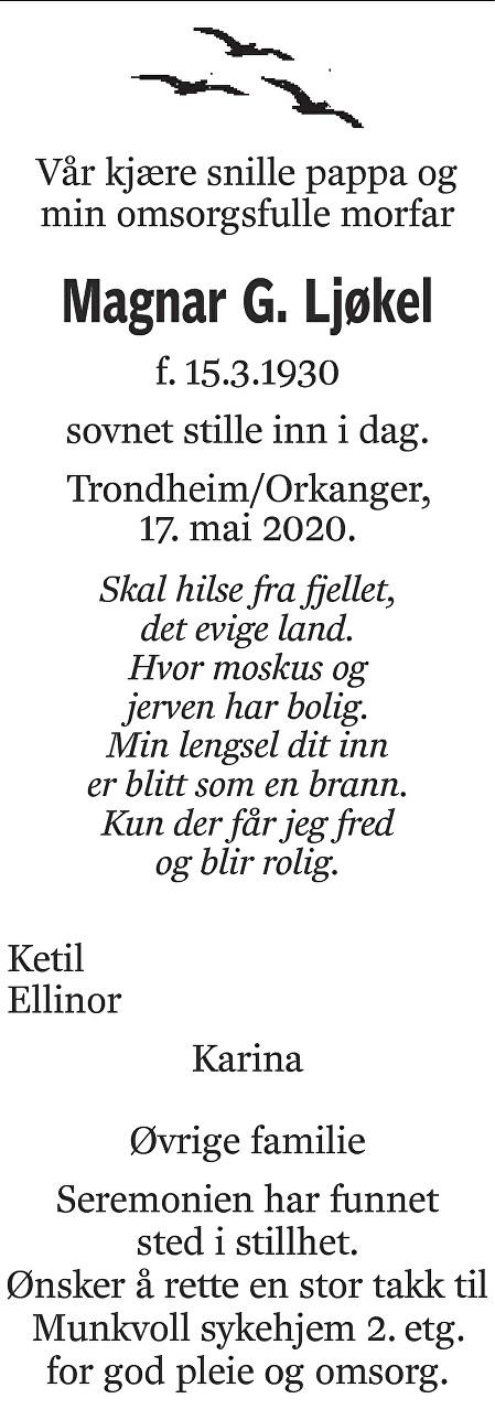 Magnar Gudmund Ljøkel Dødsannonse