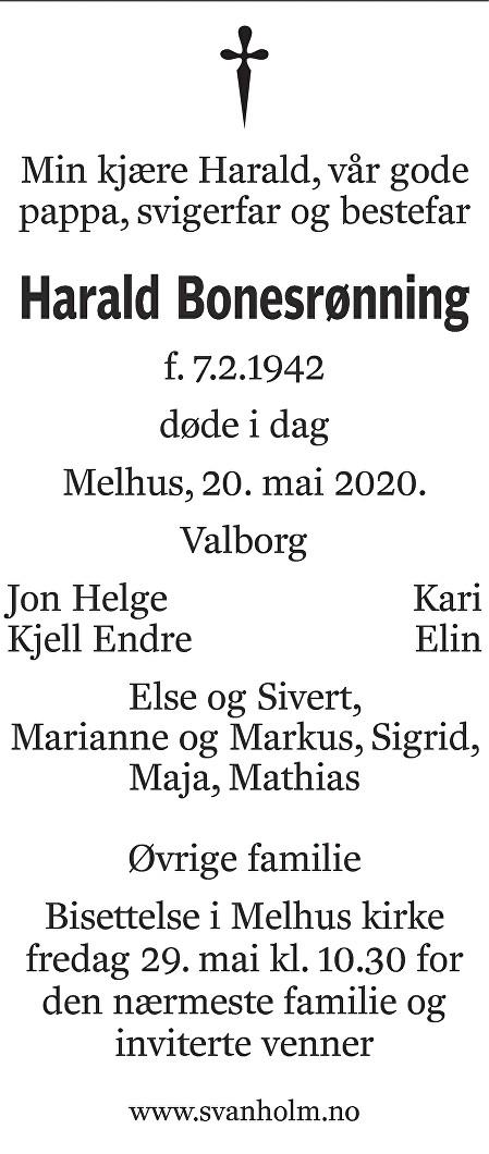 Harald Bonesrønning Dødsannonse