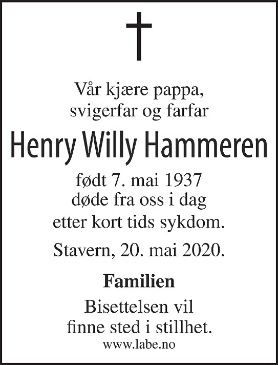 Henry Willy Hammeren Dødsannonse