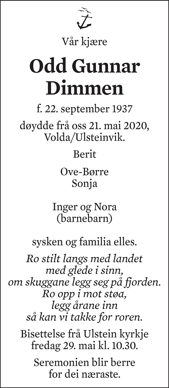 Odd Gunnar Dimmen Dødsannonse