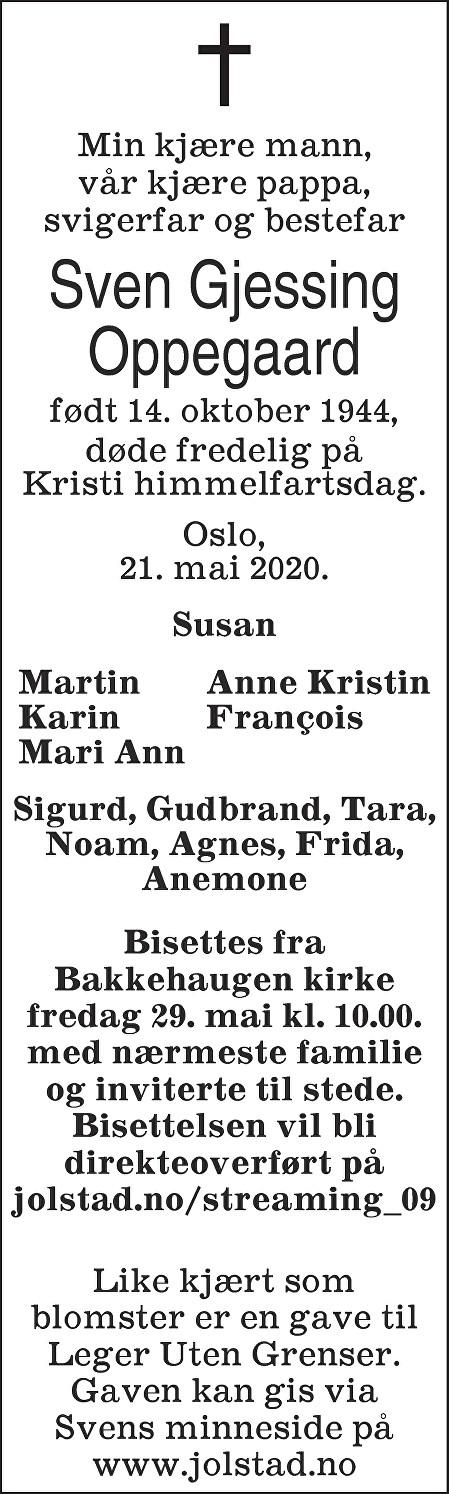 Sven Gjessing Oppegaard Dødsannonse