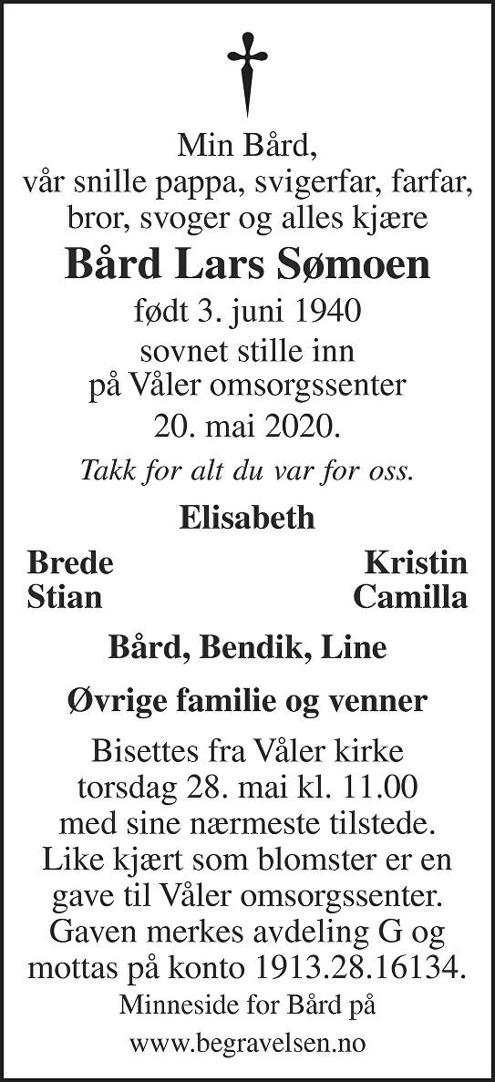 Bård Lars Sømoen Dødsannonse