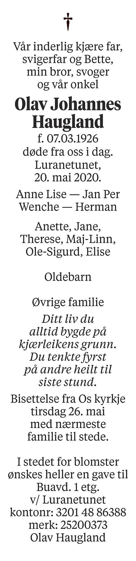 Olav Johannes Haugland Dødsannonse