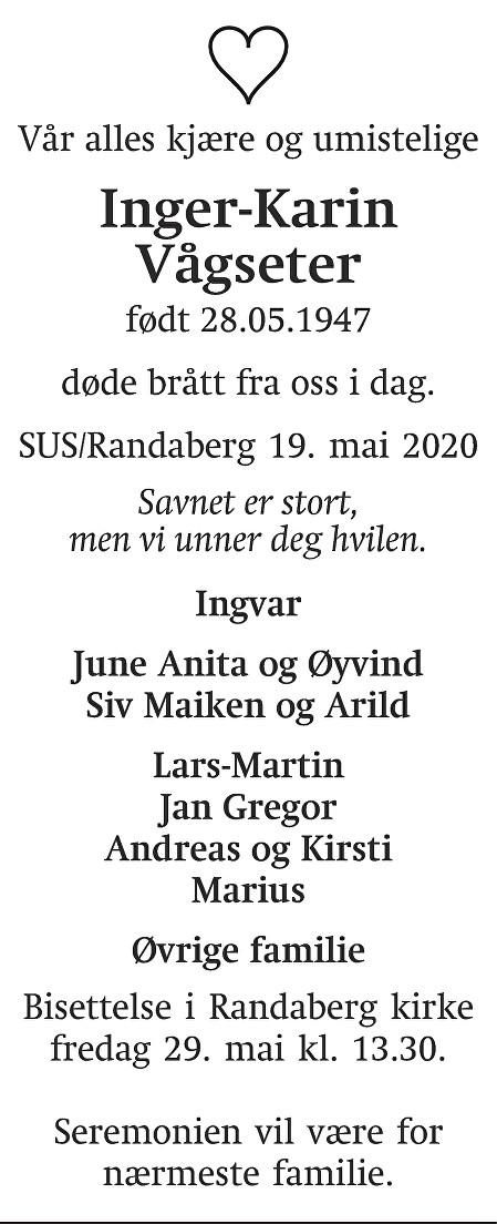 Inger-Karin Vågseter Dødsannonse