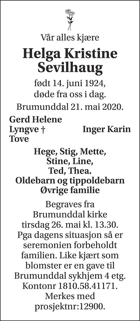 Helga Kristine Sevilhaug Dødsannonse