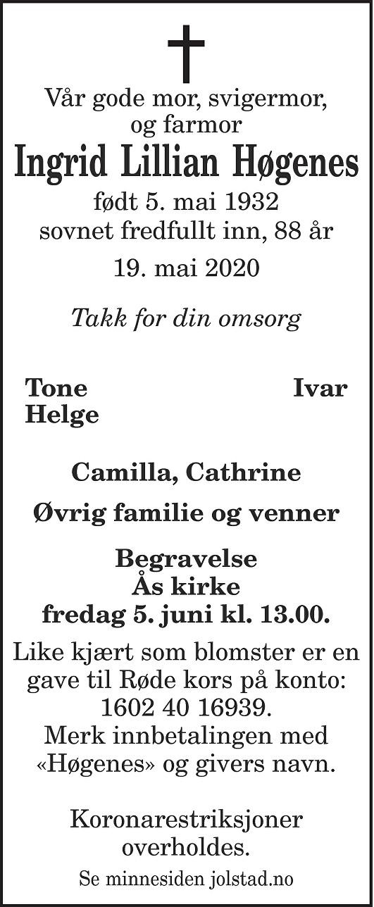 Ingrid Lillian  Høgenes  Dødsannonse