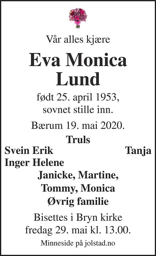 Eva Monica Lund Dødsannonse