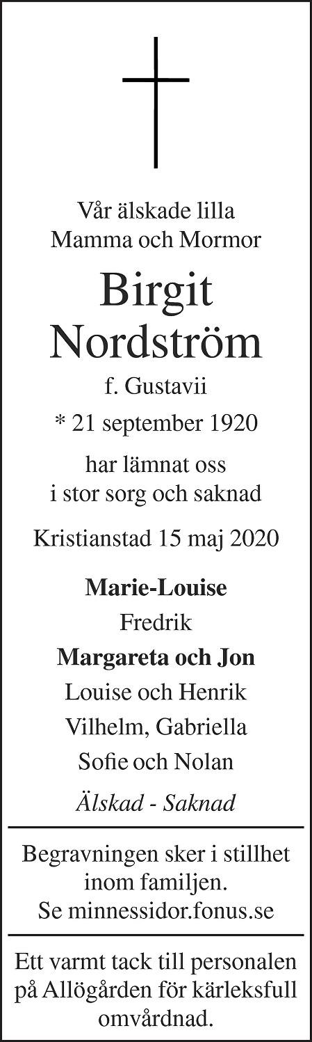Birgit Nordström Death notice