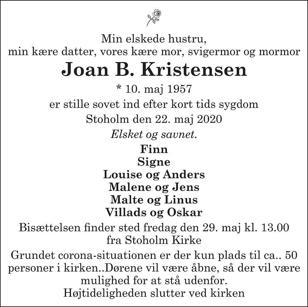 Joan Britta  Kristensen Death notice