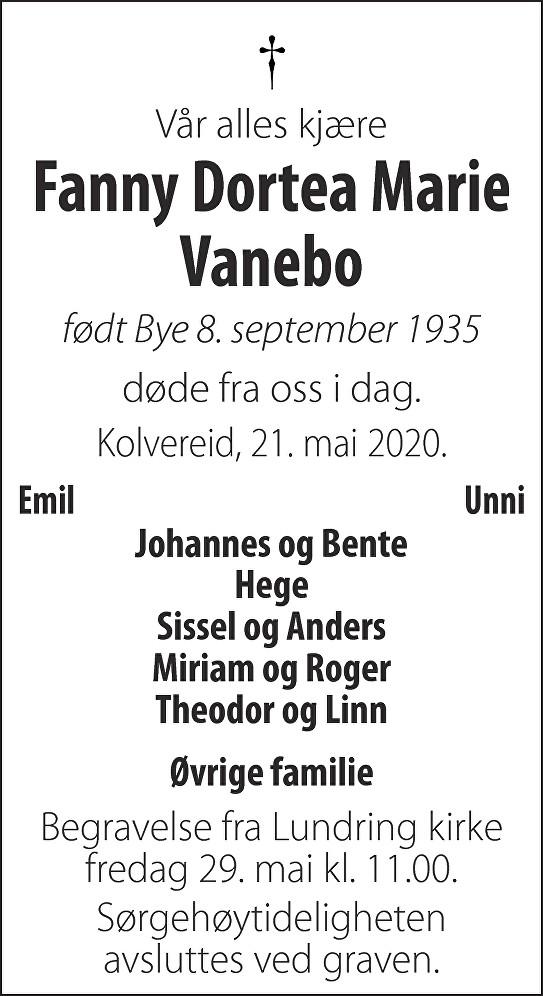 Fanny Dortea Marie Vanebo Dødsannonse