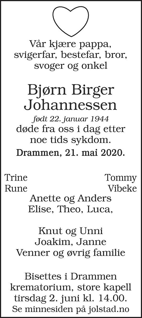 Bjørn Birger Johannessen Dødsannonse