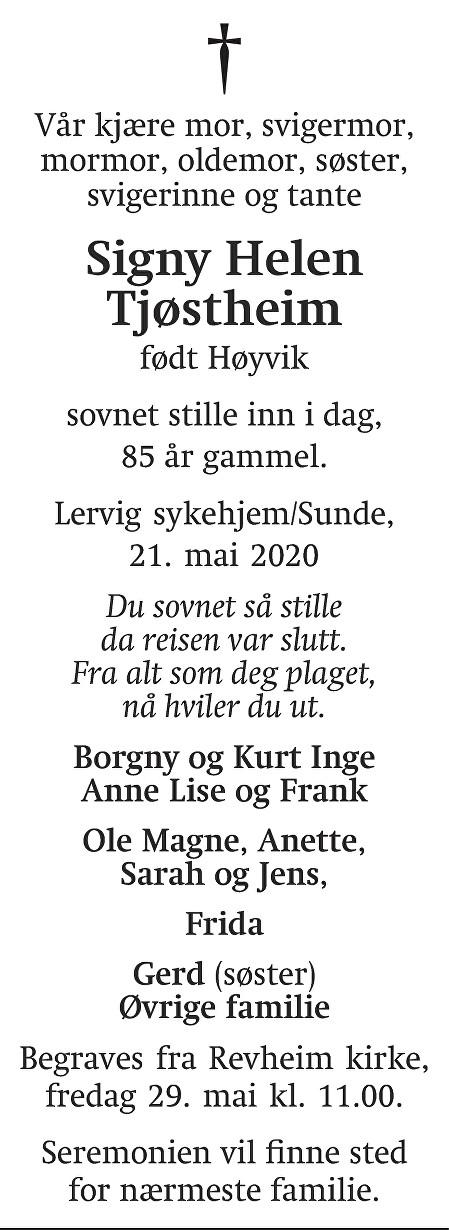 Signy Helen  Tjøstheim Dødsannonse