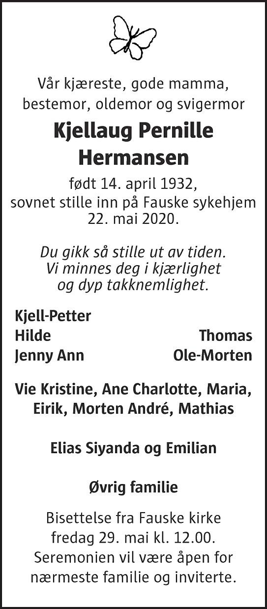 Kjellaug Pernille Hermansen Dødsannonse