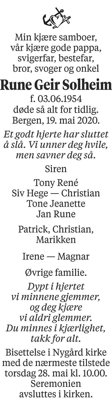 Rune Geir Solheim Dødsannonse