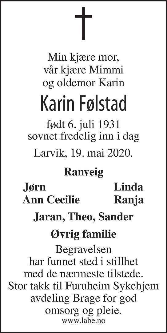 Karin Følstad Dødsannonse