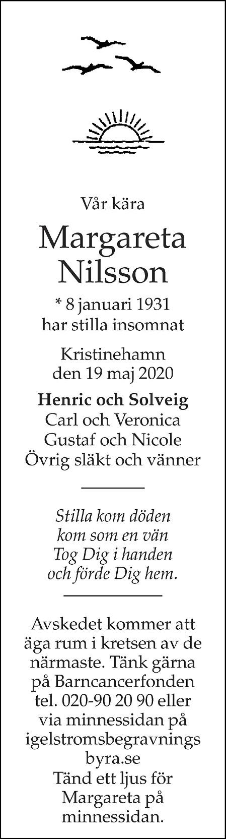 Margareta Nilsson Death notice