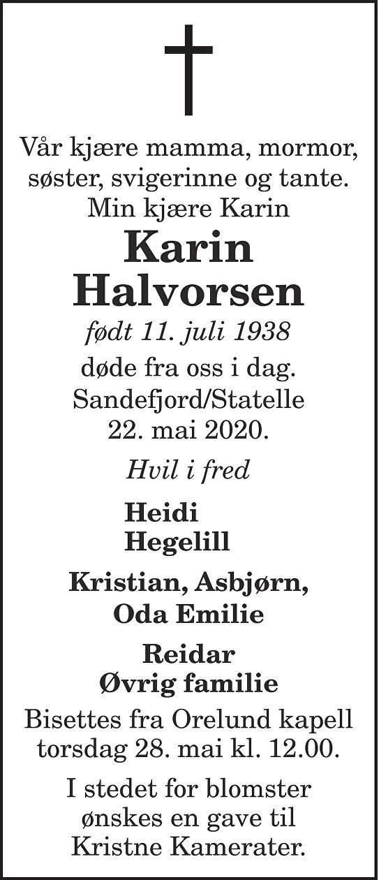 Karin Halvorsen Dødsannonse