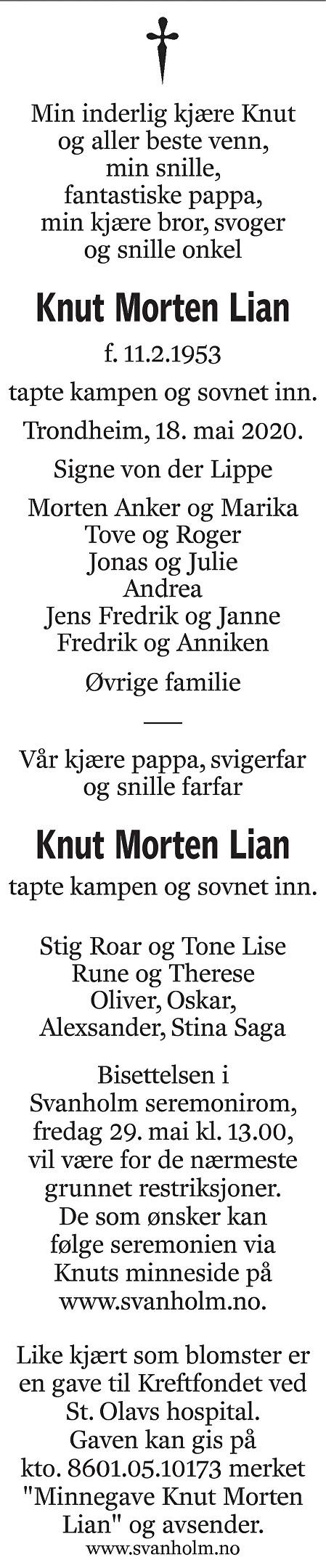 Knut Morten Lian Dødsannonse