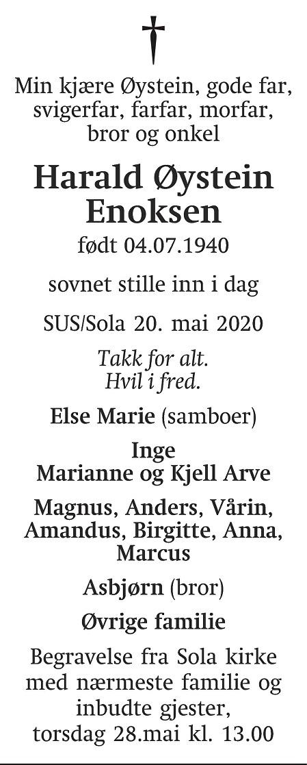 Harald Øystein Enoksen Dødsannonse