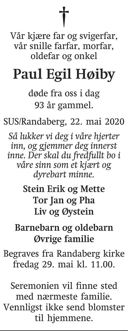 Paul Egil Høiby Dødsannonse