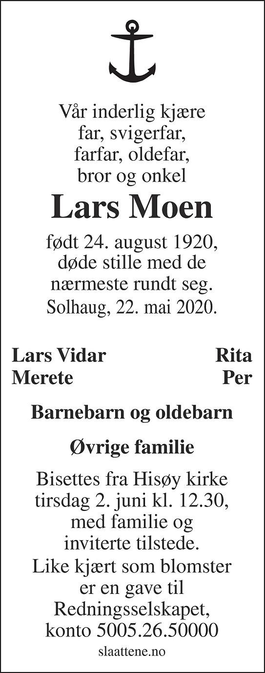 Lars Moen Dødsannonse