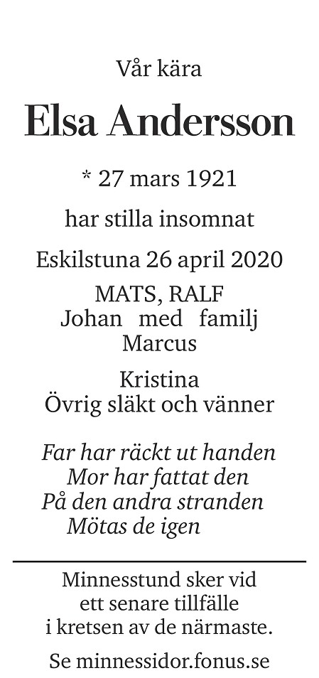 Elsa Andersson Death notice