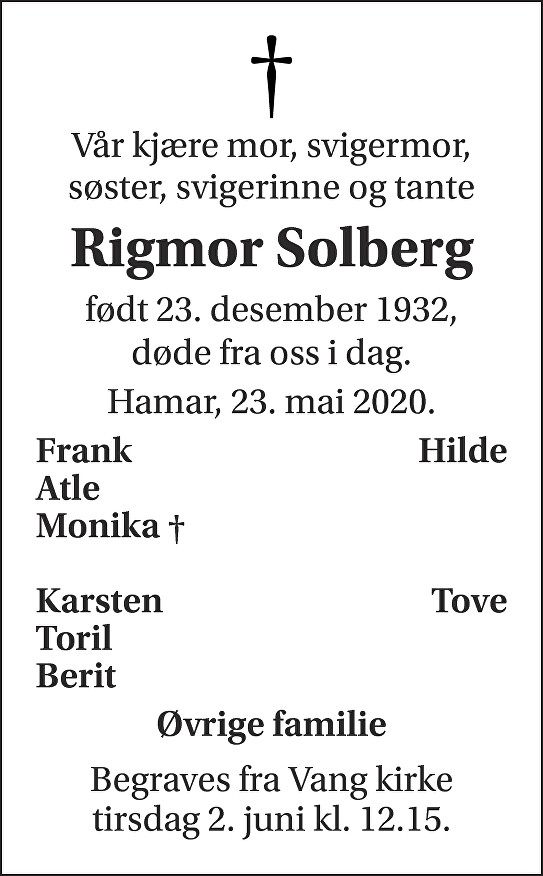 Rigmor Solberg Dødsannonse