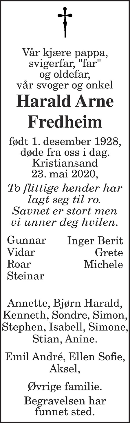 Harald Arne Fredheim Dødsannonse