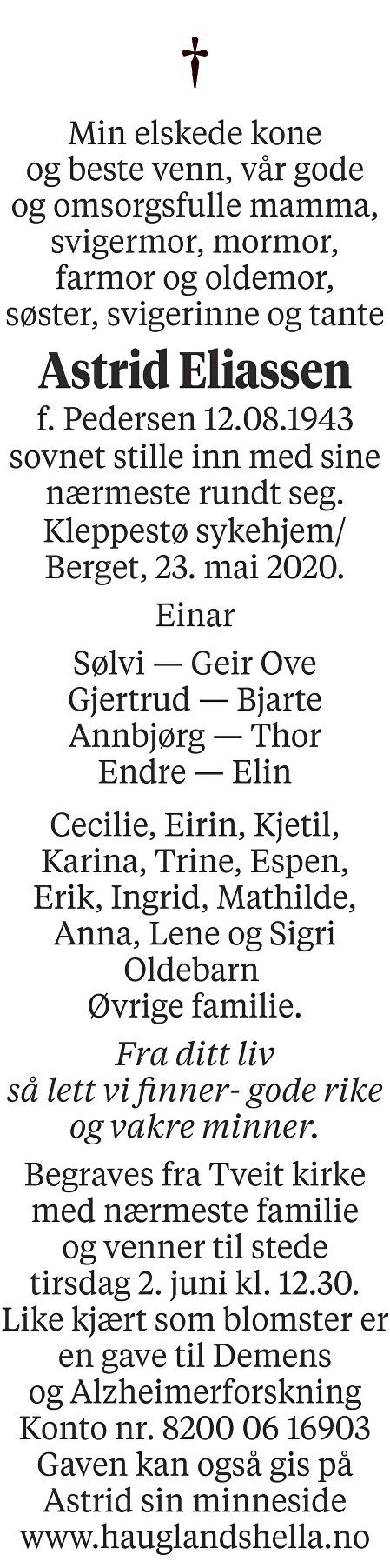 Astrid Eliassen Dødsannonse