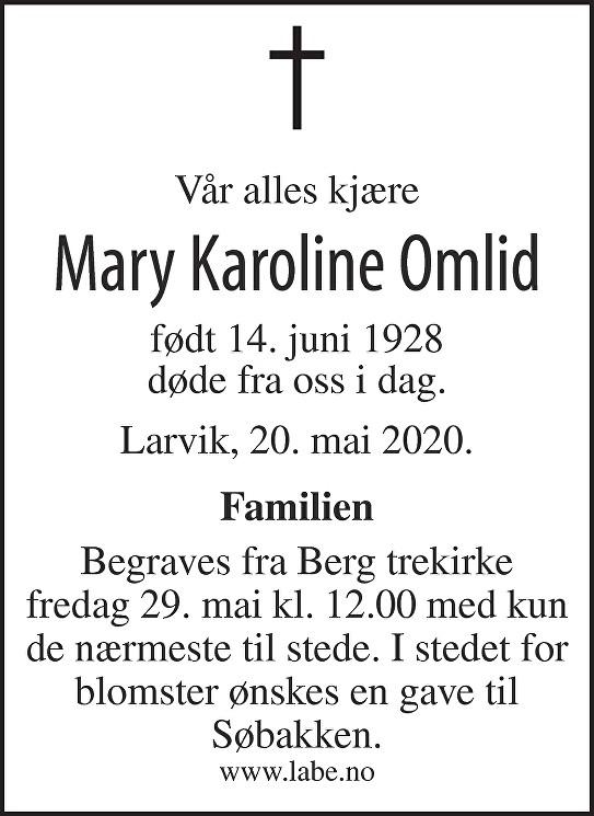 Mary Karoline Omlid Dødsannonse