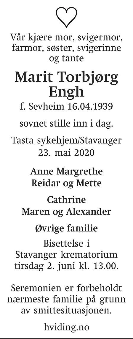 Marit Torbjørg Engh Dødsannonse
