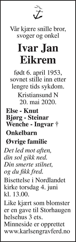 Ivar Jan Eikrem Dødsannonse