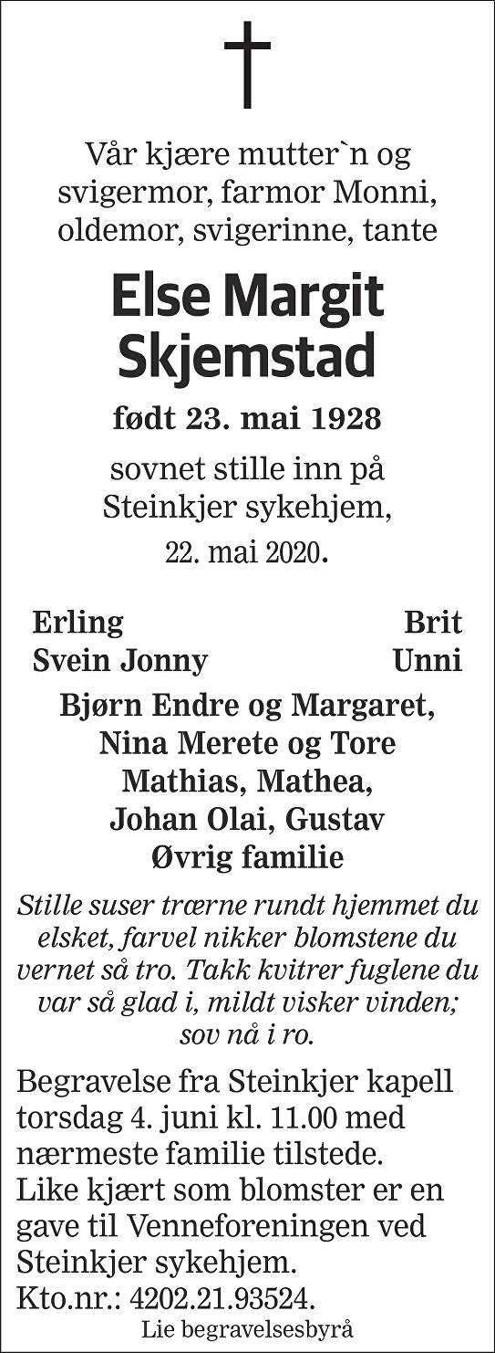 Else Margit Skjemstad Dødsannonse