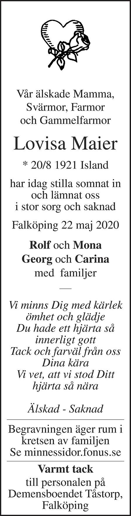 Lovisa Maier Death notice