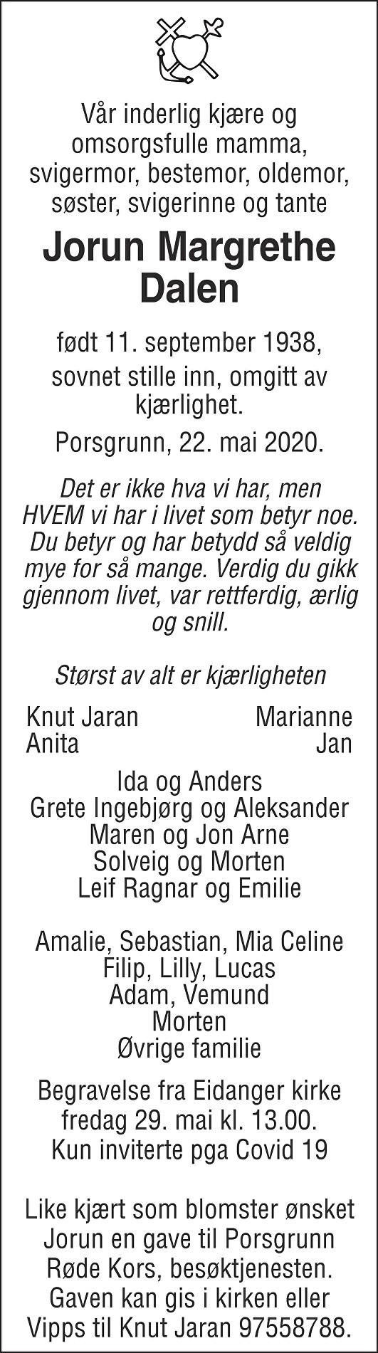 Jorun Margrethe Dalen Dødsannonse