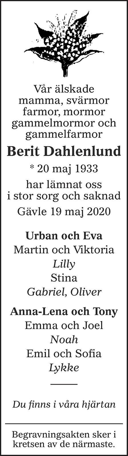 Berit Dahlenlund Death notice
