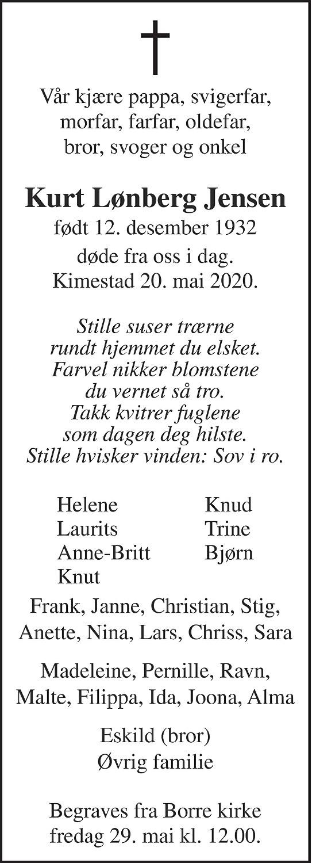 Kurt Lønberg Jensen Dødsannonse