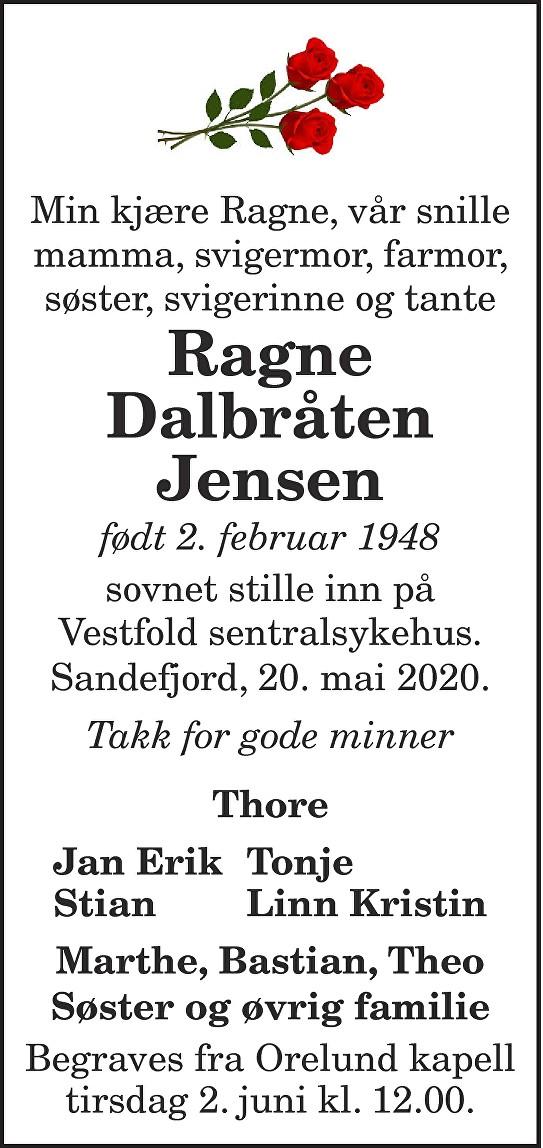 Ragne Dalbråten Jensen Dødsannonse