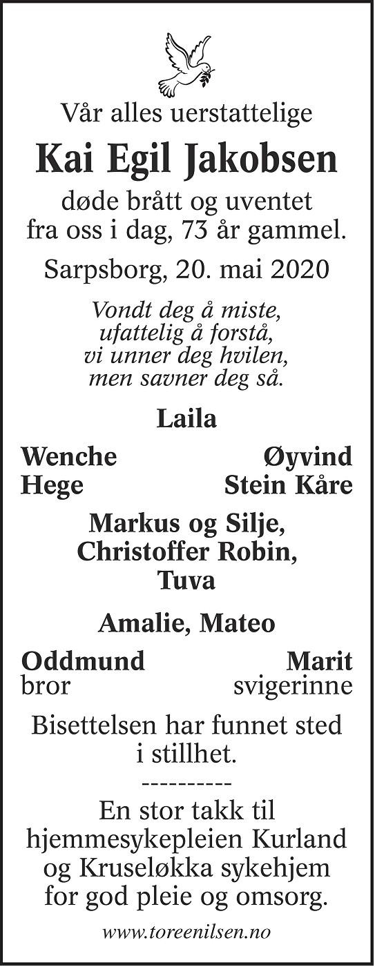 Kai Egil Jakobsen Dødsannonse