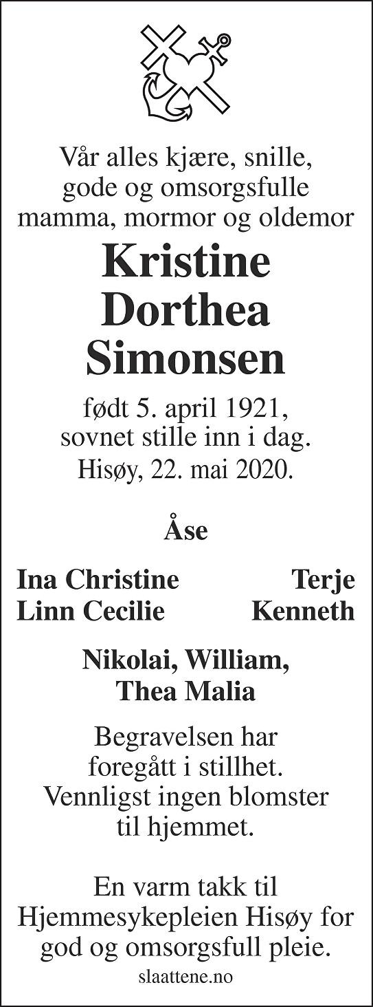 Kristine Dorthea Simonsen Dødsannonse