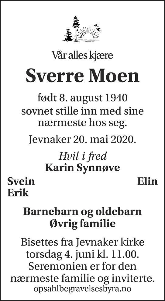 Sverre Moen Dødsannonse
